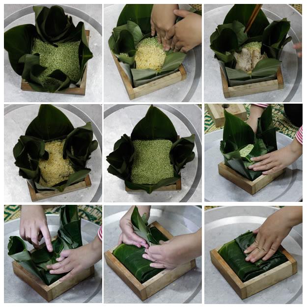 Cách gói bánh chưng bằng khuôn 4
