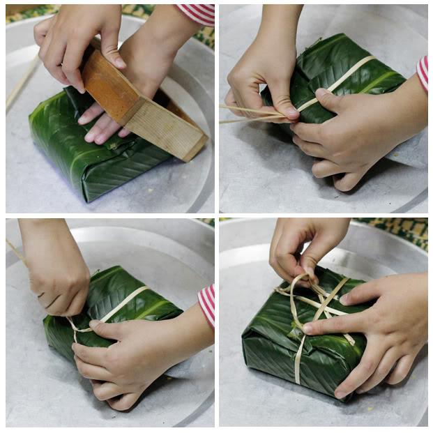 Cách gói bánh chưng bằng khuôn 5